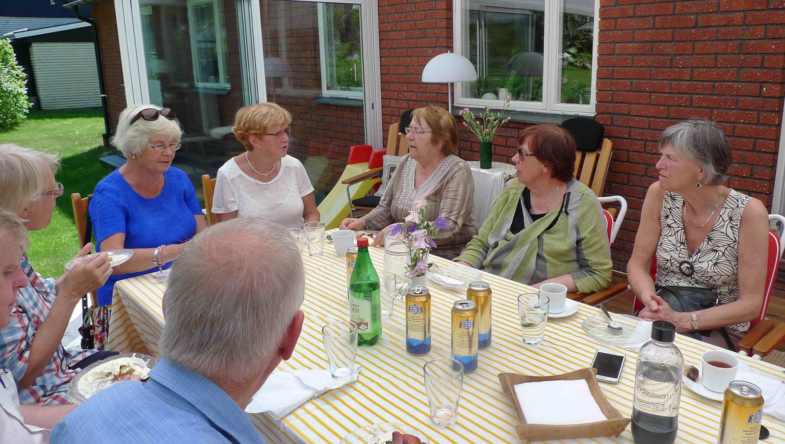 Styrelseledamöter och handledare blandades vid bordet.